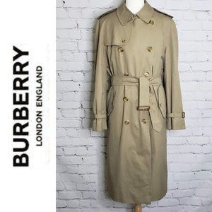VINTAGE BURBERRY TRENCH COAT + Wool Lining Men 44L